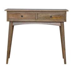 Hallway Console Table, Oak Finish Mango Wood