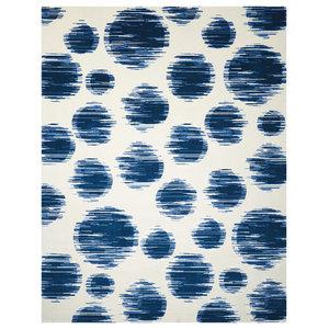 Nourison Twilight Ivory and Blue Polka Dot Rug, 168x244 Cm
