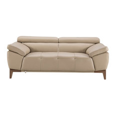 Leatherette Loveseat With Sloped Cushioned Arms And Wooden Legs Beige