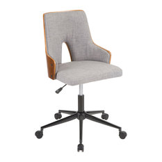 LumiSource Stella Office Chair, Walnut Wood and Gray