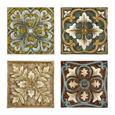 IMAX Worldwide Home - Casa Medallion 4-Piece Decorative Tiles Set - Metal Wall Art