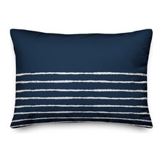 Navy and White Sketch Stripes 14x20 Lumbar Pillow