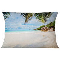 "Summer Beach with Palm Leaves Modern Seascape Throw Pillow, 12""x20"""