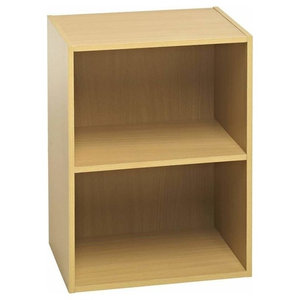 Modern Display Shelving Unit, MDF With Oak Effect, 2 Open Compartments