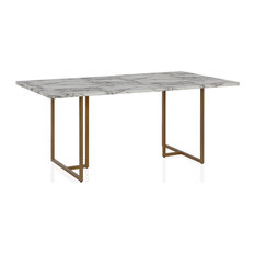 Edith Rectangular Faux Marble Dining Table White And Gold