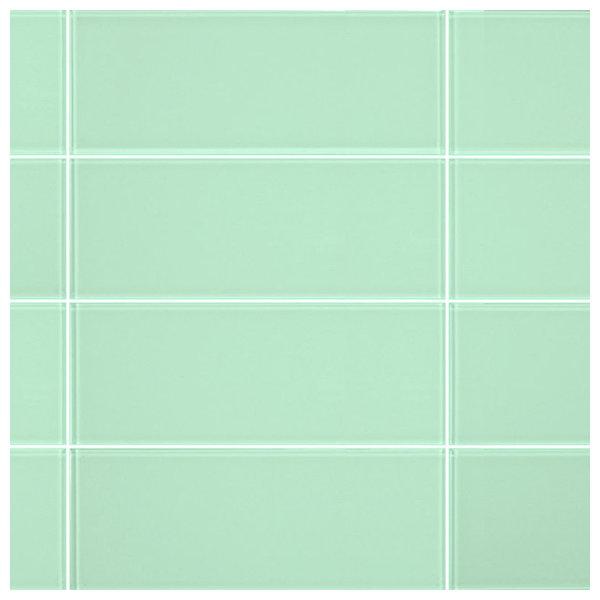 3 X8 Light Green Gl Subway Tiles Set Of 6 Contemporary Wall