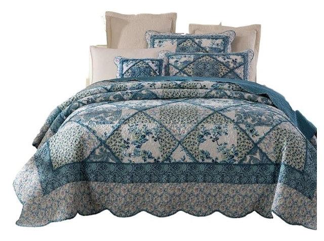 Tache Petal Dance 100% Cotton Floral Blue Quilt Bedspread Set, Cal K
