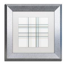 """Jennifer Nilsson 'Dashed Line Pale Gray' Art, Silver Frame, 11""""x11"""", White Matte"""