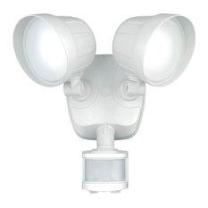 Delta 2L White LED Motion Sensor Dusk to Dawn Outdoor Security Flood Light, Whit