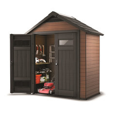 Keter Fusion Large Wood & Plastic Composite Resin Storage Shed, 7.5'x4'