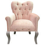 "Haute House - Amour Blush Accent Chair - Our Amour Chair is upholstered in our Shimmer ""blush"" velvet that is 100% Polyester. This pink velvet has a stain and repellent finish on it and has a cleaning code of ""S,"" which means professional dry cleaning is recommended only. The chair has crystal buttons and a beautiful hand beaded bodice on the outside back. The Amour chair has a seat height of about 19"" and an arm height of about 24.5""."