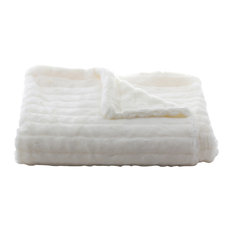 Faux Fur Throw in Mink Ivory