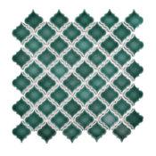 "12.38""x12.5"" Antaeus Mosaic Floor/Wall Tiles, Set of 10, Emerald"