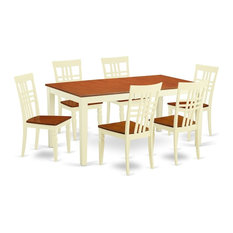 7-Piece Nicoli Table And 6 Wood Dining Chairs Buttermilk