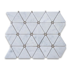 "12""x12"" Carrara White Triangle Mosaic, Gray Round Dots Polished"