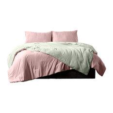 Reversible Brushed Microfiber Plush Down-Alt Comforter 3 Piece Set, Rose/Sage, T