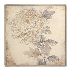 "Botanical Linen Print With Hand Embellishment and Wood Frame, 40""x40"""