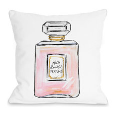 "Hello Beautiful Perfume, White Pink Gold, 18""x18"" Pillow by Timree"