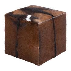 Barrett Wood and Hide Footstool