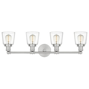 Union 4-Light Bath Fixture With Clear Glass Shade, Brushed Nickel