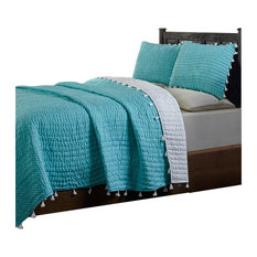 Rebecca, Peach, Quilt Set, Turquoise, Queen