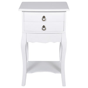 VidaXL Telephone Bedside Cabinet, White, 2 Drawers