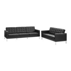 Modway Loft 2 Piece Leather Sofa And Loveseat Set With Black EEI-2987-BLK-SET