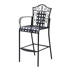 International Caravan   International Caravan Mandalay Iron Bar Height Patio  Chair (Set Of 2)