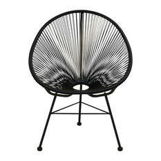 Design Tree Home - Acapulco Weave Lounge Chair, Black - Outdoor Lounge Chairs