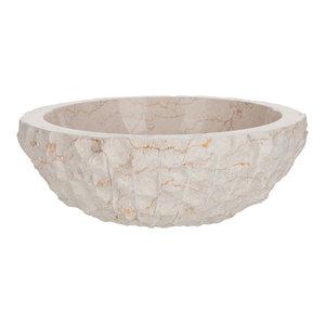 Round Marble Vessel Sink, White, 46 cm