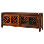 Tommy Bahama Home - Nevis Media Console - For larger televisions, the two pierced lattice sliding doors with two adjustable shelves create a wider base unit and provide more room for the multiple media components available in today's home entertainment environment.