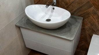 Столешница из бетона в ванную комнату
