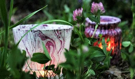 DIY: Gläsernes Windlicht basteln mit Marmorierfarbe