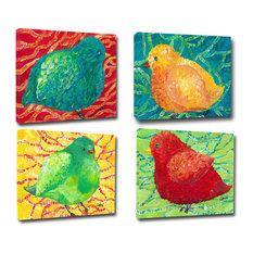 Birdie Canvas Art, Set of 4