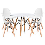 Modholic.com - Eiffel Kids Table Set, 1 Table & 4 Chairs - Give your little one's space a modern upgrade. This Modern chair is sophisticated enough to complement any room, while giving children the space they need for coloring, drawing, and snacks. Made with MDF wood, it also allows spills to be cleaned in just moments. Set it up in the corner or at the center of attention for the perfect playroom addition.