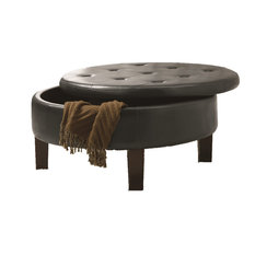 Coaster Round Upholstered Storage Ottoman With Tufted Top