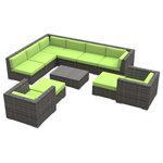 Urban Furnishing - Aruba Outdoor Patio Furniture Sofa Sectional, 11-Piece Set, Lime Green - - Designer Gray Wicker Pattern