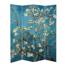 6' Tall Double Sided Works of Van Gogh Canvas Room Divider
