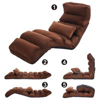Costway Coffee Folding Lazy Sofa Stylish Sofa Couch Beds Lounge Chair W/Pillow