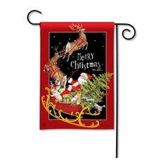 Santa's Sleigh Garden Flag