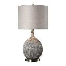 Textured Brushed Gray Taupe Ceramic Gourd Lamp, Ivory Round Brass