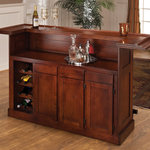 Hillsdale Furniture - Classic Bar, 62578ACHE Classic Large Cherry Bar - With a warm brown cherry finish and black footrest, this bar has classic styling. The wine rack, which holds up to 12 bottles, cabinets and drawers provide ample storage space. Made of solid hardwoods with cherry veneers.