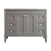 """Catania Single Vanity With Carrara White Marble Top, Gray, 48"""", Without Mirror"""