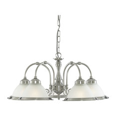 American Diner 5-Arm Pendant, With Ribbed Glass, Opaque and Satin Silver
