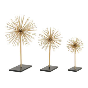 3D Gold Metal Starburst Sculptures on Black Stands, Set of 3: 11