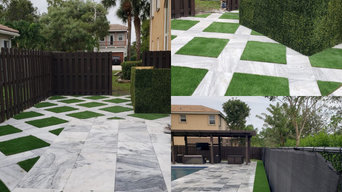 travertine / artificial grass