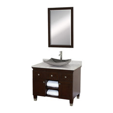 "36"" Single Vanity, Espresso White Carrara Marble Top Granite Sink, 24"" Mirror"