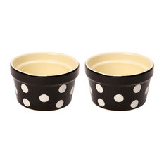 Dexam Set of 2 Polka Dot Ramekins, Black