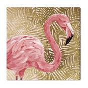 """Gold Flamingo Profile"" Canvas Art Print, 50x50 cm"