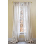 """Xia Home Fashions - Manor Luxe Mannheim 52""""x96"""" Sheer Curtain Single Panel, Natural - Refresh your windows with beautiful natural linen look sheer Curtain, providing a smooth and rich look to any room. The neutral color coordinated wide stripes will add a simple, classic look and feel to any room in your home, apartment, office, business and more, these value-for-quality sheers also look great layered with other curtain panels."""